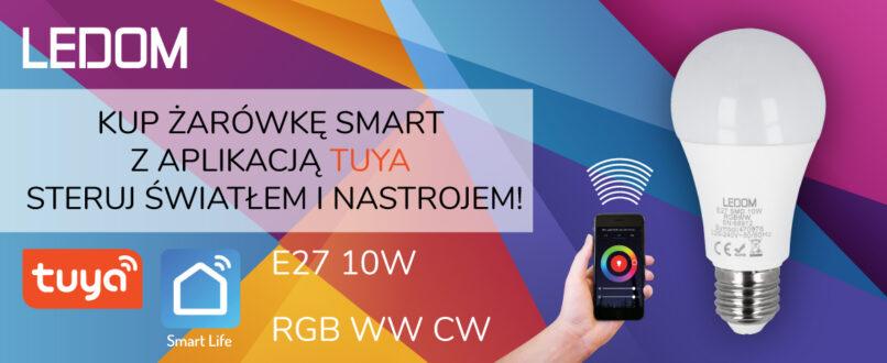 Reklama żarówki smart z aplikacją tuya